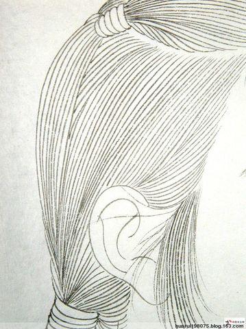 国画线描现代人物头发