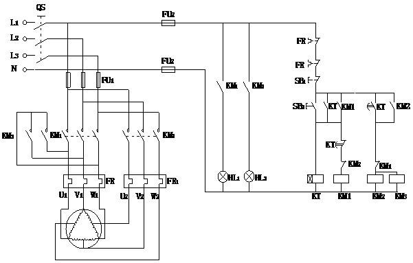 时间继电器切换的双速电动机调速控制电路故障诊断与处理.