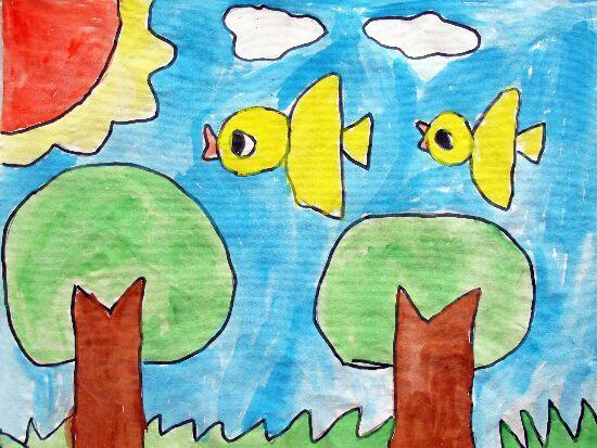 美丽的春天,儿童简笔画