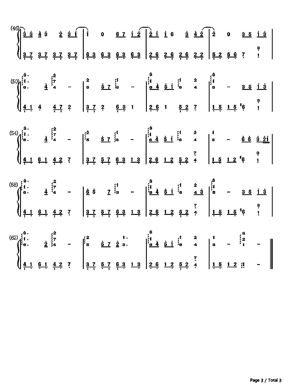 蒲公英的约定钢琴简谱版 要双手的.
