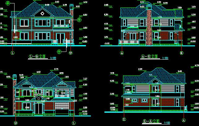 一座房子的cad首层平面图,立面图,剖面图