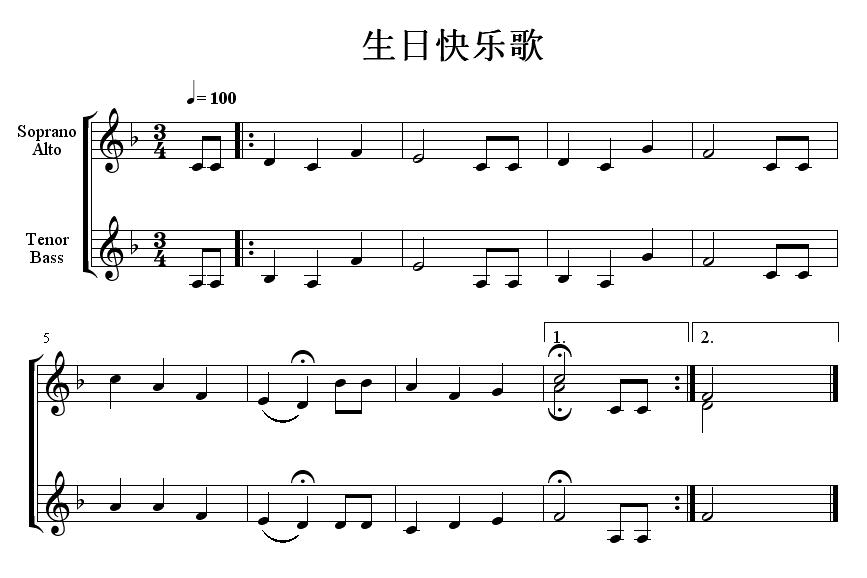 把生日快乐简谱翻译成蝌蚪的
