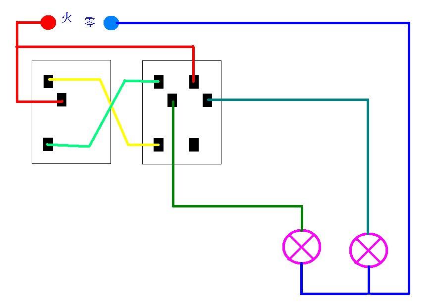 用两个开关控制一个灯怎么接线?