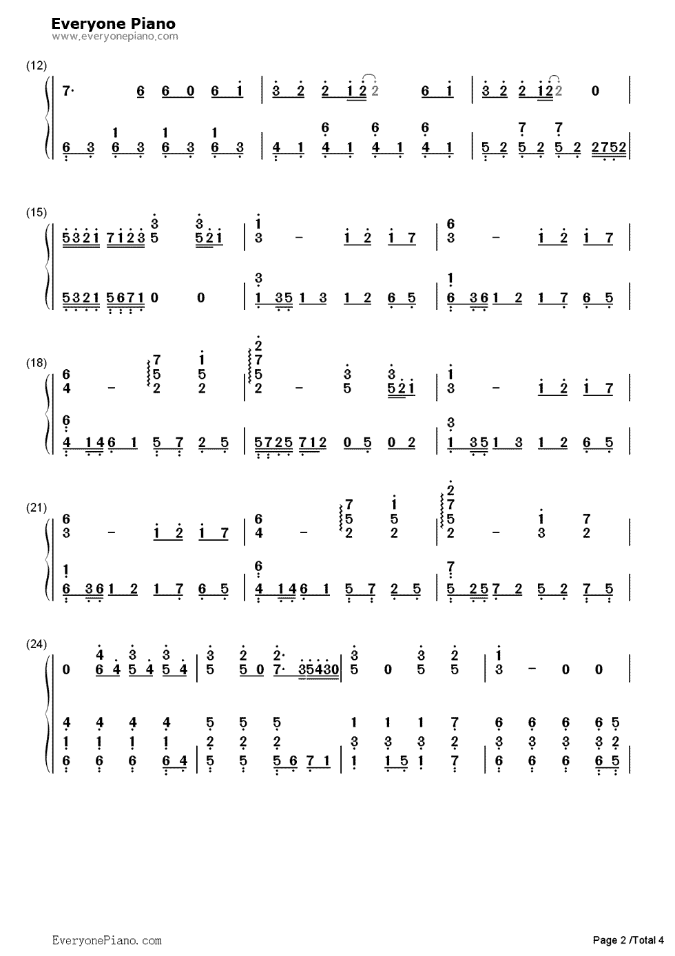 急需钢琴曲,(喜欢你)的纯数字简谱.图片