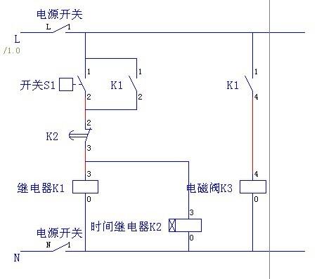 一个按扭开关,一个hy3-2继电器,一个4v110-06电磁阀,控制一个气缸图片