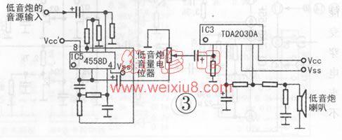 展开全部 tda2030  电路可以参考以下图 用tda2030的有源音箱基本就
