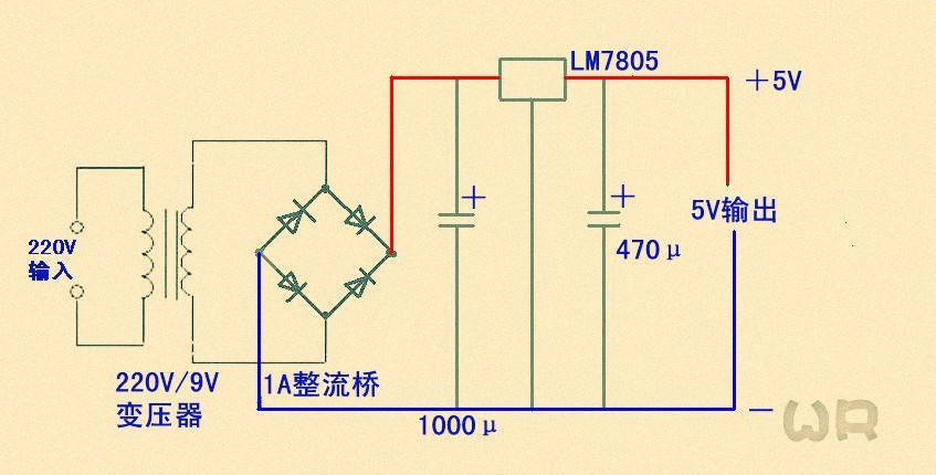 (交流输入220v直流5v稳压,输出电流大于300ma)的电路图.图怎么画.