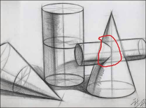 画结构素描中,图片中这个带有圆主体的圆锥体,画红圈里这种规则圆柱体