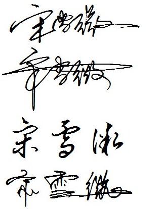 宋雪微这个名字怎么写好看连笔的签名样子的图片