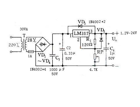lm317稳压可调电源是怎么调电压高低的,是加个电位器就可调压了吗?