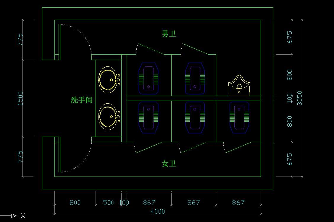 求公司洗手间的平面布局设计,室内空间3.05m*4.0m .要求有男女洗手间.