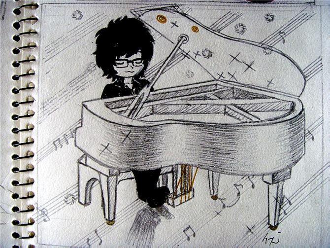 亲们,求周笔畅的一张弹钢琴的图片.