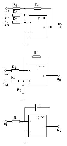 模拟运放电路中反向减法器和反向积分器的实验原理图和输入输出波形
