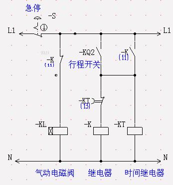 1个时间继电器,2个行程开关控制1个电磁阀.求1自动线路图.