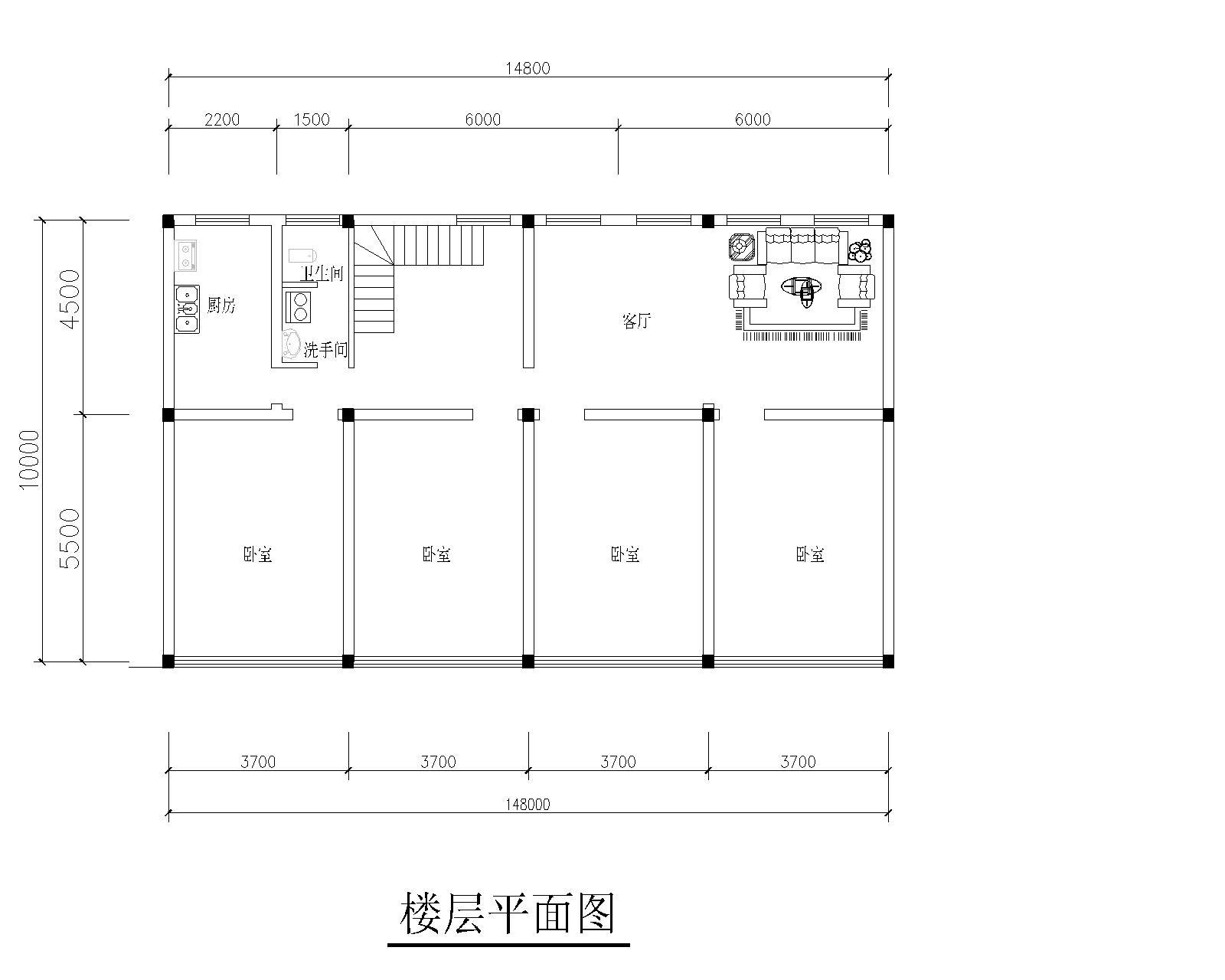 求农村四间三层楼房设计图,地基坐北朝南,长3.7*4=14.