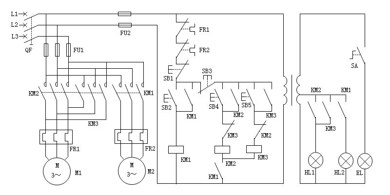 车床主轴电动机于润滑油泵电动机的控制电路