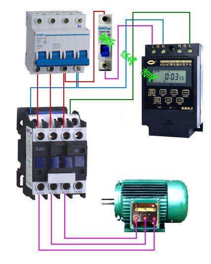 怎样用交流接触器和电脑时控开关控制多盏电压为380v照明灯具求接线图
