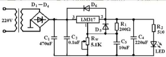 就变压器,整流桥,滤波电电容,稳压lm317稳压调压芯片应该可以解决问题