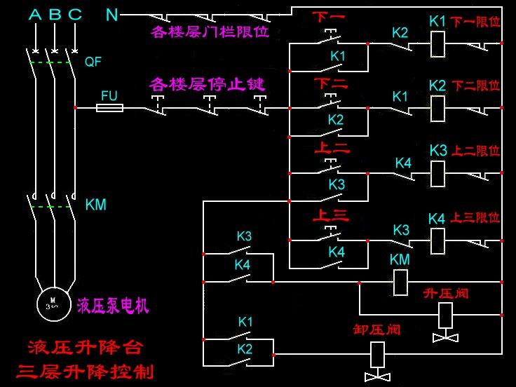求三层楼液压升降平台控制箱电路图,每层楼都可独立控制上升下降带急