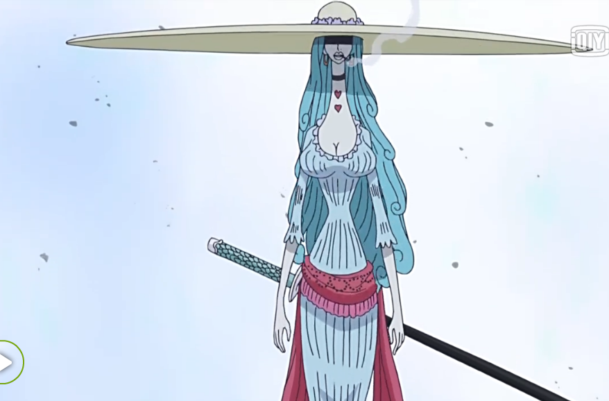 海贼王大妈手下带着很大帽子蓝头发的那个干部是谁?图片