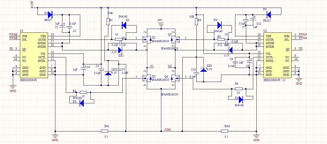 请问这个桥电路如何加pwm波来控制电机的正反转?加什么样的pwm波?