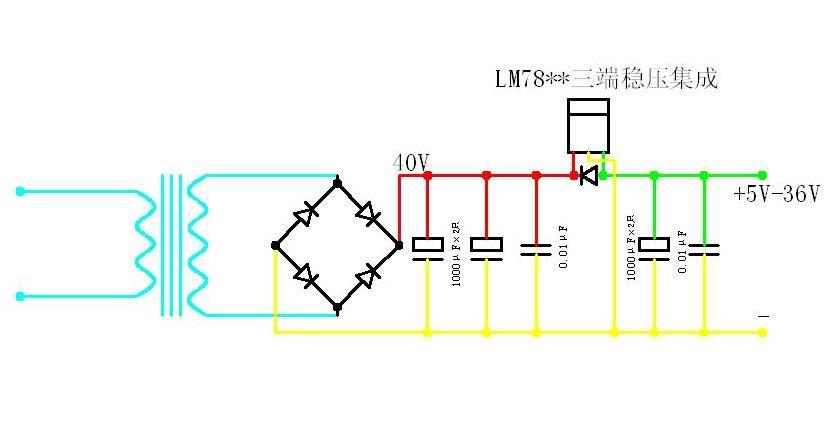 用7805稳压集成电路按附图接线就成.