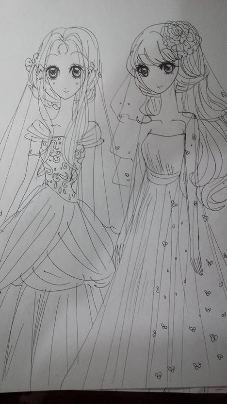 公主婚纱素描手绘图片