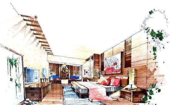 求一整套的室内手绘效果图,马克笔的