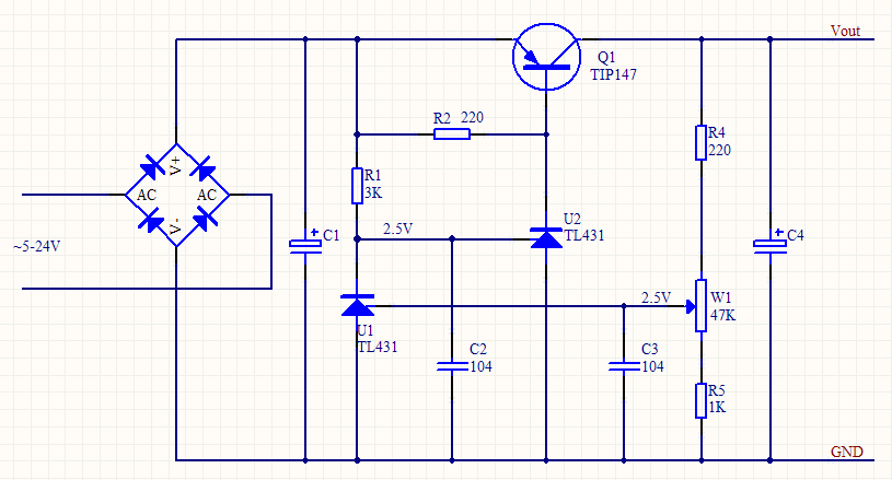求简单可控的直流稳压电源的电路图