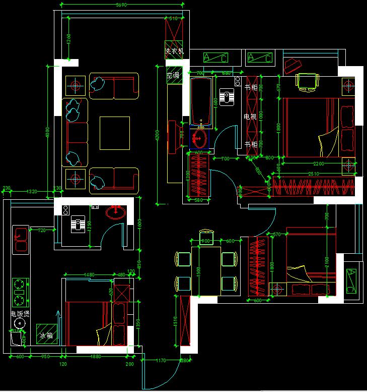 原始结构图 方案一(浪费过道面积) 方案二(卫生间门开在厨房,卧室窗户