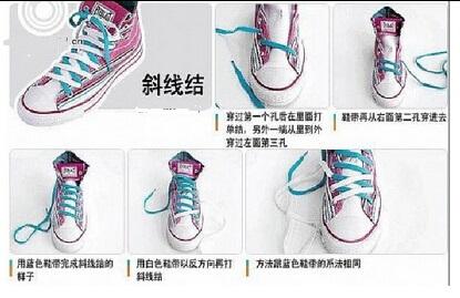 调整鞋带,使其保持一字形不要卷起来; 4.多余的部分塞入鞋里面; 5.