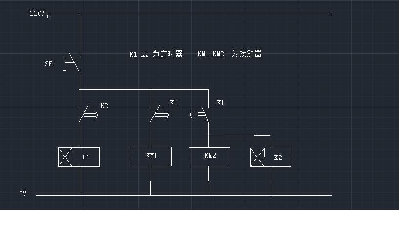 电动mi开关的时候,m2的时间继电器是断开的是断开的,10s后密集电器