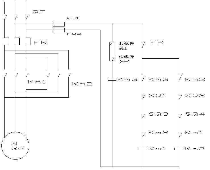 两个拉线开关,控制电动机正反转,两地都可以自由开关,行程开关,接触器