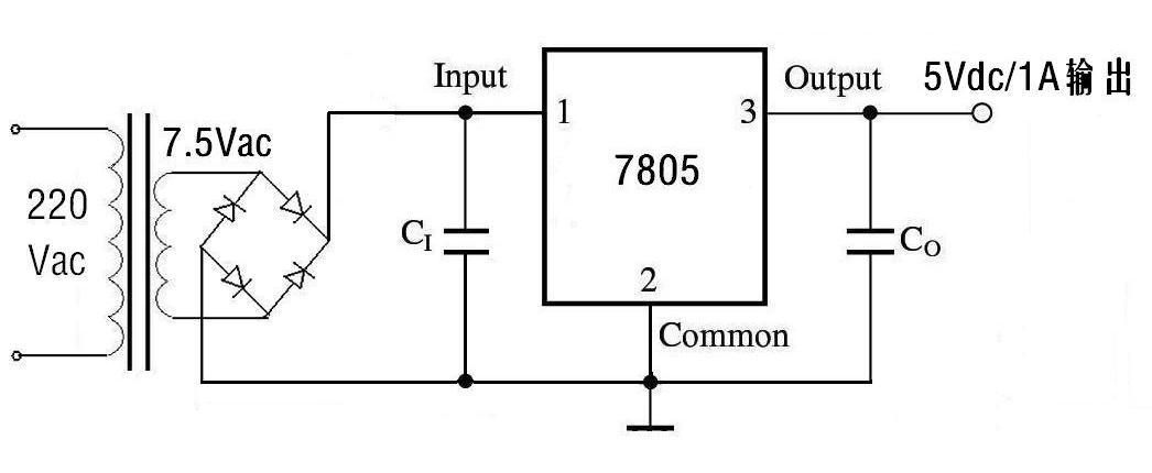 求220v转5v的电路设计图和方案?