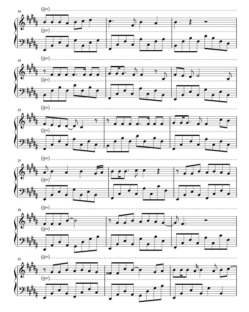 棉花糖钢琴五线谱