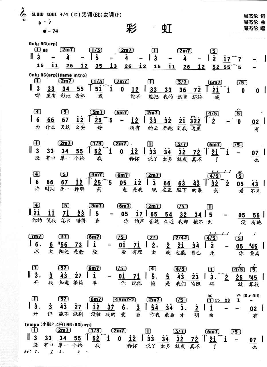 周杰伦钢琴曲彩虹 双手简谱