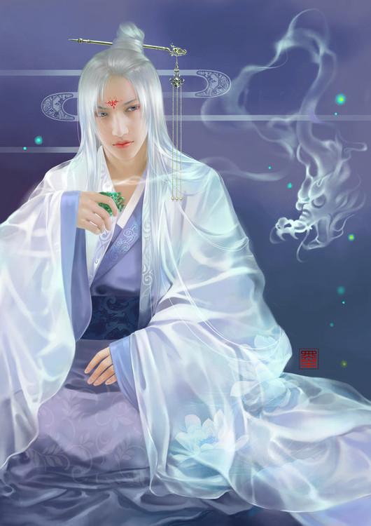手绘古风紫衣白发男子