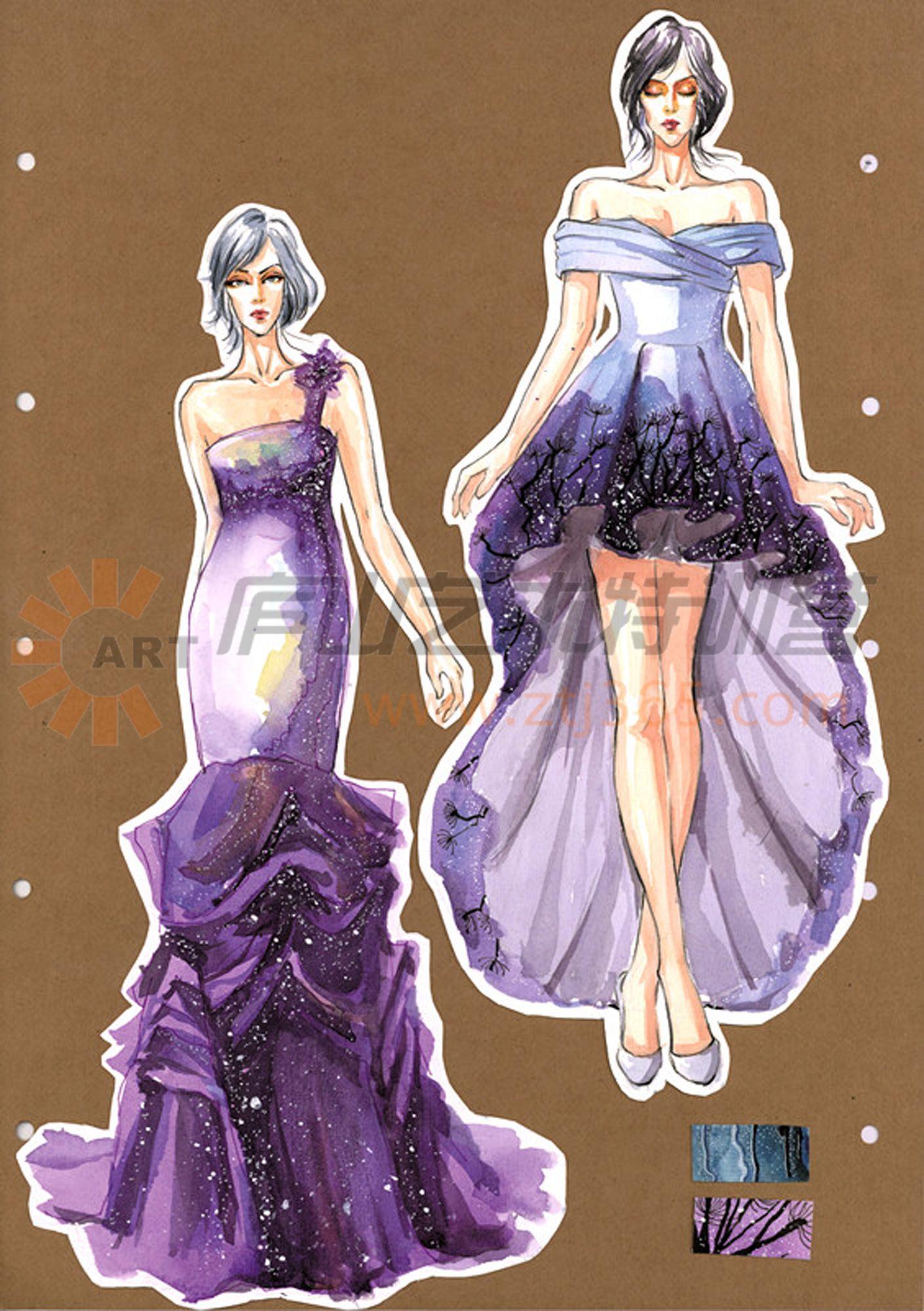 礼服设计图手稿初学图片