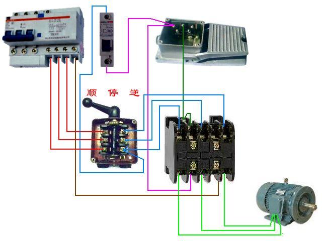 一个按钮开关,一个接触器,一个电机,怎样控制起,停呢.