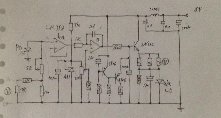 这是一个激光器的驱动电路,ld能够输出5mw,原理不太清楚啊.
