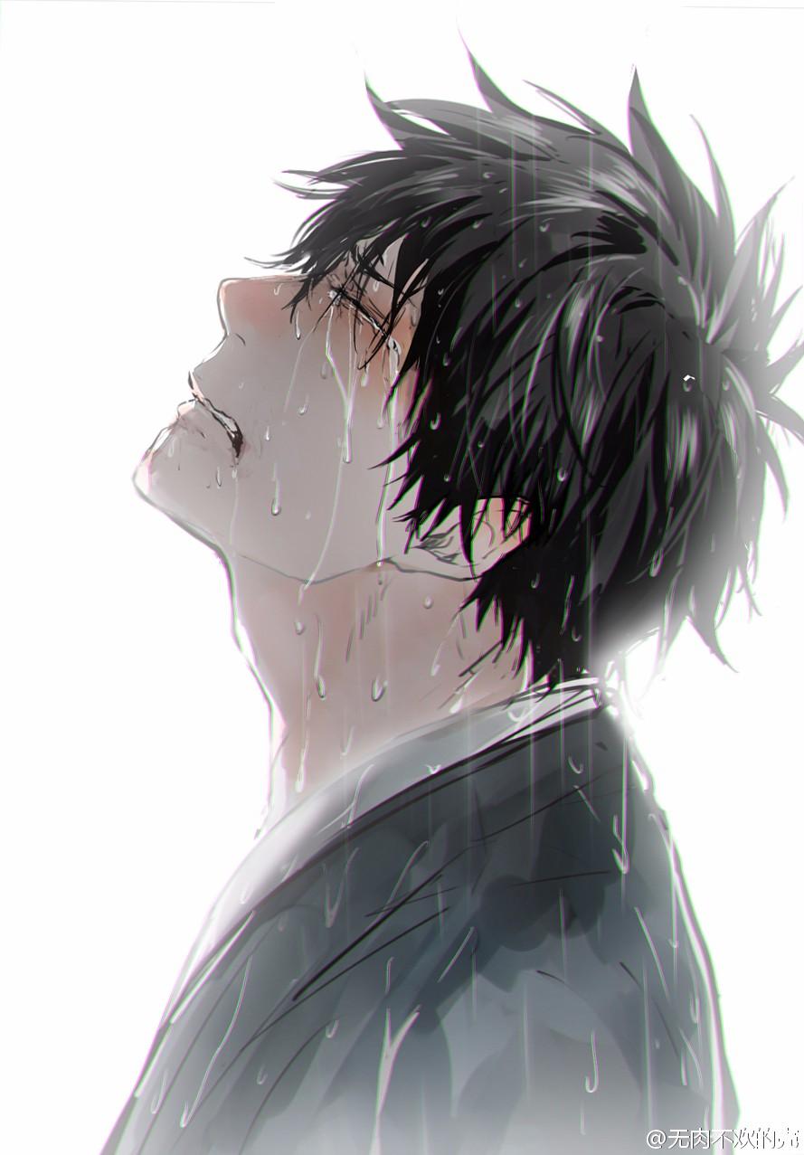 求一张男生哭的很伤心的动漫图,背景是白色的,拜托了!