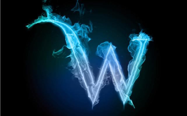蓝色火焰字母w,ps大神帮忙弄一个吧,背景黑色,造型帅的啊