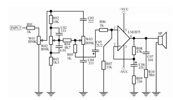 为什么低音炮要用双电源,谁有用lm1875的2.1音响电路图?