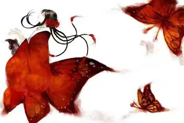 唯美古风彼岸花图片 189*272 最好有穿红衣的女子 周围一片彼岸花