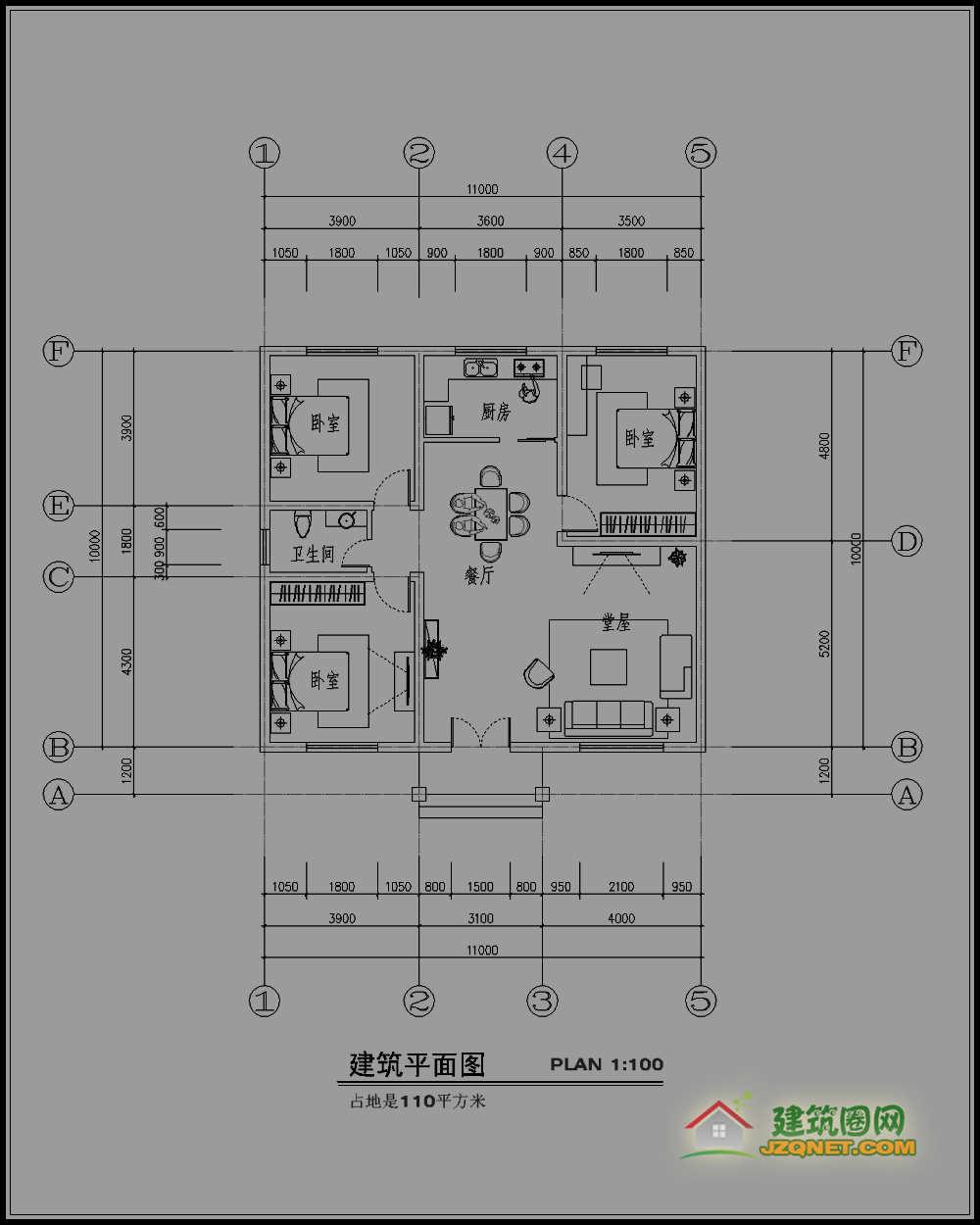 130平方农村建房三房一厅一卫一厨一楼梯设计图一层