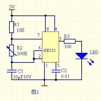 用555定时器设计一个定时电路,led灯亮暗循环的要电路