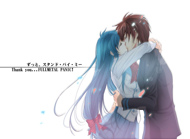 漂亮可爱的动漫女孩和帅气的男孩接吻的图片撒或者不接吻,抱在一起的