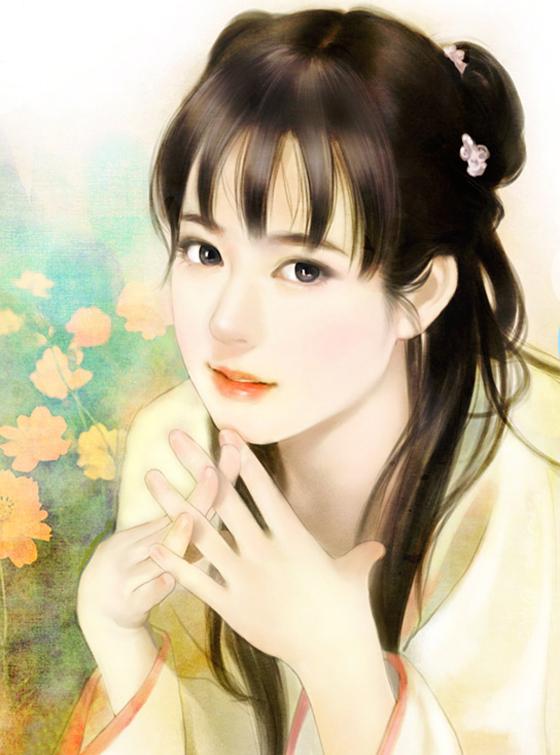 要一张图片 古代 手绘美女 她的两手在一边托着脸