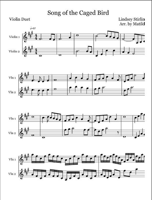 谁有song of the caged bird 的完整小提琴谱子求发.
