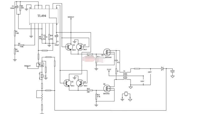 求用tl494 做逆变器 原理图